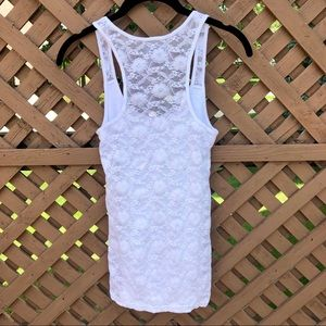 Flower Lace Back White Tank Top | American Eagle